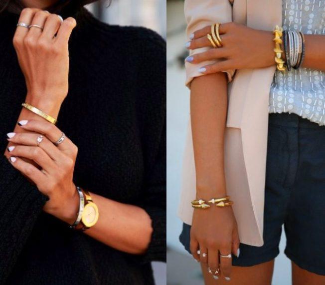 золотые часы и серебро на руках